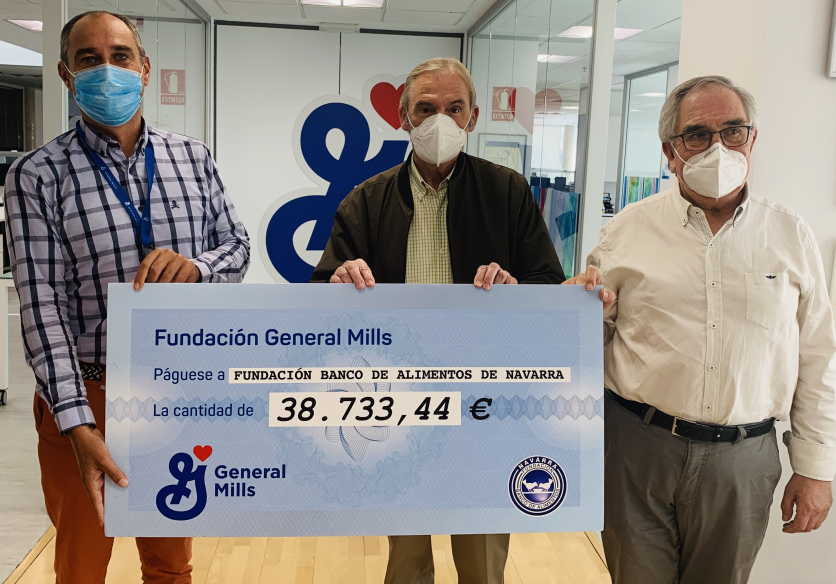 La Fundación General Mills dona casi 40.000 euros a la Fundación Banco de Alimentos de Navarra para apoyar a más de 25.000 personas